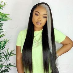 Custom Natural Color Straight Lace Front Wig with Grey Highlight - hair Box Braids Hairstyles, Frontal Hairstyles, My Hairstyle, Hairstyles Men, Drawing Hairstyles, Saree Hairstyles, Bandana Hairstyles, Baddie Hairstyles, American Hairstyles