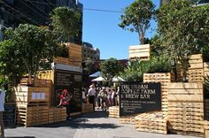 Pallet Planters idea to go with the Cargo Shipping Container look. HASSELL Builds a Shipping Pallet Urban Coffee Farm for Melbourne's Food & Wine Festival