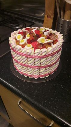 Flump and haribo birthday cake for my 7 year old Tilly. Flump and haribo birthday cake for my Haribo Birthday Cake, Sweetie Birthday Cake, 40th Birthday Cakes For Men, Sweetie Cake, 40th Cake, Chocolates, Little Presents, Novelty Cakes, No Bake Treats