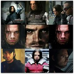 """Is it just me or do most of these look like Bucky is annoyed like """"Well this isn't how I thought today would go, at lest I saw Steve. I wonder if this could get any worse, oh looks like it could"""""""