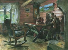 The Living Room at Kolbotn - Harriet Backer Lund, Your Paintings, Beautiful Paintings, Nordic Lights, Scandinavian Art, Ludwig, Interesting Faces, Old West, Artist Art