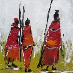 Les Massaïs I : Peinture figurative : peinture à l'huile au couteau sur toile de coton : dimensions = 30/30 cm : Peintures par les-reves-de-minsy