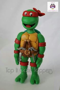 Teenage Mutant Ninja Turtle cake topper. Raphael. 80's turtle. Made with homemade marshmallow fondant.