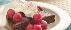 Looking for an easy dessert using Betty Crocker® fudge brownie mix? Then check out this great brownie topped with whipped cream sprinkled with cocoa.