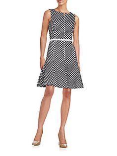 Karl Lagerfeld - Jacquard Polka Dot Fit-&-Flare Dress