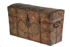 BRIDAL CHEST - 18th c Scandinavian Painted Softwood Dome Top Bridal Chest, dated 1770