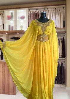 Yellow chiffon abaya is fully lined and absolutely gorgeous! $75 Trajes Anarkali, Hijab Fashion, Fashion Outfits, Dress Outfits, Prom Dresses, Lace Dress Styles, Act Like A Lady, Caftan Dress, Islamic Clothing