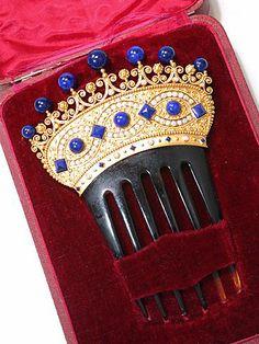 Empress Eugenie Pearl, Lapis + Gold Comb