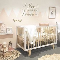 What a perfect space for your little to catch some zzz. With the mountains, sleepy eyes, and fun cloud shelves we are swooning. Gold Nursery Decor, Chic Nursery, Nursery Room, Girl Nursery, Girl Room, Girls Bedroom, Baby Room, Cloud Shelves, Nursery Inspiration