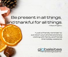 Have a very happy holiday weekend! We plan to have lots of pie and enjoy our family time!  ❤️  Our office will be closed Monday, November 25th through Sunday, December 1st. We will reopen on Monday, December 2nd.   As always, for emergencies, please email team@globalsites.net.   🦃