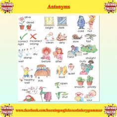 Antonyms list with pictures - English grammar