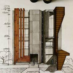 Unbelievable Modern Architecture Designs – My Life Spot Architecture Concept Drawings, Architecture Sketchbook, Modern Architecture Design, Architecture Graphics, Facade Design, Facade Architecture, Residential Architecture, Amazing Architecture, Landscape Architecture