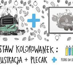 prezent 3w1: praktyczny, pobudzający kreatywność, no i zabawowy:) https://pl.dawanda.com/product/114188251-zestaw-kolorowanek-plecak-ilustracja-pisaki #wiosna #illustration #ilustracja #prezent #kolorowanka #plecak #kidsfashion #polishillustration #dwielewerece #coloring #bag