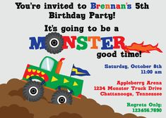 monster truck invitation