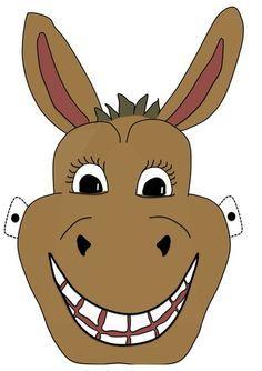 Free printable Donkey Mask for kids. Donkey Mask, The Donkey, Animal Face Mask, Animal Masks, Bible Crafts, Felt Crafts, Animal Mask Templates, Glove Puppets, Paper Mask