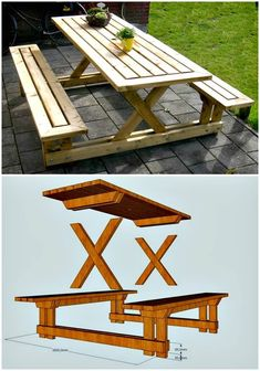 How To Build Your Own Picnic Table - 50 Cool DIY Patio & Porch Decor Ideas - DIY & Crafts