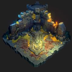 A personal hand painted project. Strongly inspired by League of Legend and Battle Chasers. Game Design, Game Level Design, Prop Design, Game Environment, Environment Concept, Environment Design, Blender 3d, Game Art, Armadura Ninja