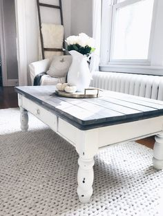 farmhouse coffee table makeover - gray wood plants on white chalk paint coffee table on pinterestingplans