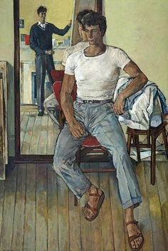"blastedheath: "" John Minton (English, Painter and Model, Oil on canvas. Russell-Cotes Art Gallery and Museum. Rockwell Kent, John Minton, Saint Jean Baptiste, National Gallery, Artists And Models, Mirror Art, Collaborative Art, Male Figure, Art Uk"