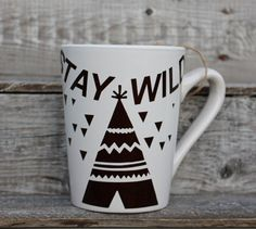 16 Ounce Coffee Mug Stay Wild with Teepee by threepaintedarrows