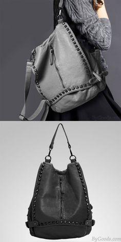 Original Multifunctional Rivet Soild College Backpacks for big sale! #rivet #college #Backpack #bag #student