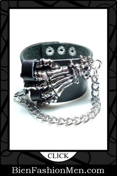 Mens Leather Cuffs | Mens Bracelets | Mens Jewelry | Mens Accessories | Bracelets on Men | Mens Jewelery | Shop Now ♦ Bone Hand and Chain Wristband Punk Rock Skull Black Leather Bracelet $7.99