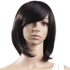 16 5 inch Stunning Medium Black Turnup Side Bang Hair Wig Women's Accessories   eBay