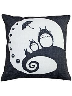 GIANCOMICS Fans Handmade Two Sides My Neighbor Totoro Cotton Linen Decorative Pillow Cases Sofa Pillow Cover Moon tt4 ❤ ...