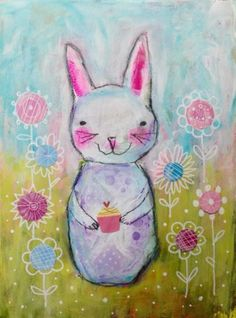 #cute #whimsical #rabbit #painting #art #mixedmedia #collage  Acrylic-Mixed-Media-Painting-of-Whimsical-Bunny-Rabbit-18-x-24cm-Original-Art
