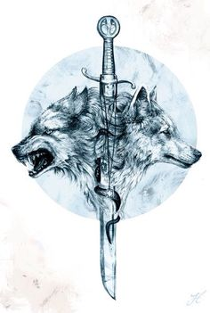 Two wolves and a sword tattoo                                                                                                                                                                                 More