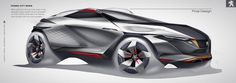 This Peugeot Concept Was Designed For The Year 2030 Car Design Sketch, Car Sketch, Wacom Intuos, Peugeot, New Luxury Cars, Hatchback Cars, Futuristic Cars, Car Drawings, Photoshop