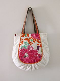 Super cute kokka fabric. Woodlands Pleated Tote in Pink by PippiRabbit on Etsy