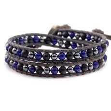 Blue Mix Double Wrap Bracelet on Natural Grey Leather