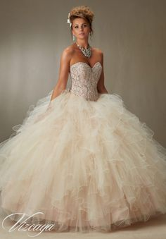 Quinceanera Dress 89068 Crystal Beading on a Ruffled Tulle Ball Gown