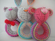 ♥Amigurumi Patterns By Teddies With Love Crochet Crochet Rattles Crochet Baby Toys, Crochet Toys Patterns, Amigurumi Patterns, Stuffed Toys Patterns, Knit Crochet, Monkey Pattern, Cat Pattern, Owl Themed Nursery, Crochet Stars