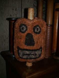 Folk Art Jack O' Lantern Make Do Rug Hooking by hookedonprimitives, $12.00