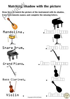 Fun worksheets for kids to recognise, learn the names, and match music instrumen. Fun Worksheets For Kids, Matching Worksheets, Music Worksheets, Matching Games, Bass Clarinet, Memory Games, Music Games, Piano Sheet Music, Drawing For Kids