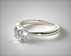 14K White Gold Crown Diamond Engagement Ring | A solitaire engagement ring with a crown style basket is the perfect choice when set with the diamond you choose just for her. | Ring Style: 17564W14 on JamesAllen.com. Click to view this ring in 360° HD.