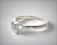 14K White Gold Crown Diamond Engagement Ring