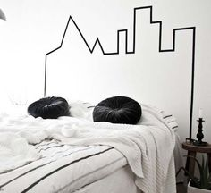 Make a headboard with masking tape.