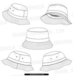 BUCKET HAT TEMPLATE SET Product Type Digital Download Only File Format Zipped PDF AI Description From Designsuperholik