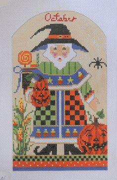 "October Santa by Kelly Clark, $73.15, 18 mesh, 7""x 4.5"""