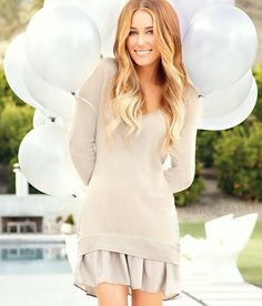 super cute skirt/sweater combo!   lauren conrad i envy her I get most of my inspirations from her!!