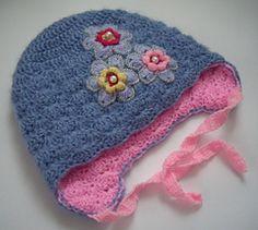 Girls double layered crochet hat with earflaps by Ksenia Lark (Ksenia Design)