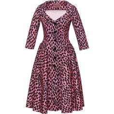Lena Hoschek Kitten Collared Dress ($670) ❤ liked on Polyvore featuring dresses, animals, pleated dress, collar dress and animal dress
