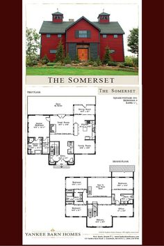 This barn home design plan features 3,941 square feet of post and beam living space, 4 bedrooms and 3.5 baths - Visit to see more on this home. #barnhomeplans