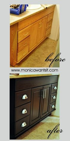 quick and easy DIY bathroom and kitchen cabinet update using Java gel stain- oak to espresso! (Monica Wants It).