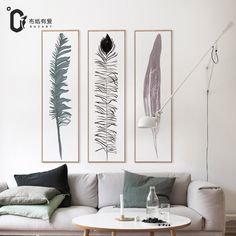 Long feather Modern style Wall pictures for living room canvas painting wall art Room decoration No Frame