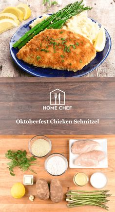 What could be more satisfying than biting into a golden, crispy pan-fried chicken breast? Maybe if it was served next to buttery mashed potatoes, you say? Alles klar, meine Damen und Herren! We've got you covered with our salute to Oktoberfest. Pan-steamed asparagus and a squeeze of fresh lemon round out the perfectly comforting weeknight meal.