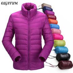 Women winter coat ultra light duck down jackets women slim thin long sleeve parka zipper coat pockets solid color coat 13 colors #Affiliate